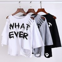 "Cheap Crop Top 2016 New Short Sleeve Casual ""What Ever"" Letter Print tshirts Hole Sexy Punk T Shirt Women Tops Plus Size Cropped Tops"