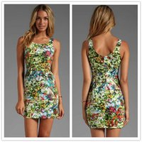 silk dress shirt - Europe station new printing sleeveless round neck sexy thin package hip dress temperament DFMD228 summer Occasion Dresses for wowen