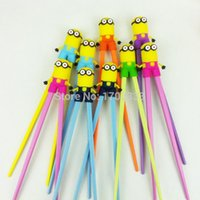 Wholesale 2015 New Super Cute Despicable Me Minions Chopsticks pairs Cartoon Design Children Kid Baby Early learning chopsticks