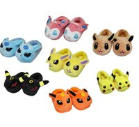 Wholesale Poke Figures cotton Warm slippers shoes children cartoon Pikachu Squirtle Charmander Poke Ball Sylveon slippers shoes toy HHA1034