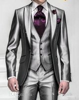 Cheap New Shiny Slim Fit Groom Tuxedos Silver Grey Best Man Peak Lapel Groomsman Men Wedding Dinner Suits Bridegroom