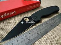 Wholesale Best quality Spyderco C81GBK2 Paramilitary Knife C81 knife S30V black G Black handle Black blade