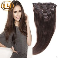Wholesale 7A Brazilian Clip In Hair Extensions set Full Head Natural Brown Straight Clip in Human Hair Extension Brazilian Hair