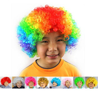 Wholesale Unisex Cosplay Wigs Clown Wigs Halloween Christmas Party Wigs Curly Wigs Explosion Head Wigs Rainbow Joker Wigs Free Ship D692 pc