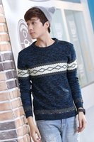 Wholesale Hitz men s fashion round neck sweater hedging hit color stitching Korean version of the influx of men pullover