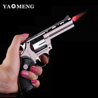 Wholesale Fedex Free New Windproof Metal Cigarette Cigar Pistol Gun Revolver Shape Refillable Butane Gas Flame Jet Lighter w Key chain