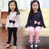 Wholesale girls spring autumn fashion Polka dot pieces suit kids princess bow sets pink navyblue tshirt leggings whole suits tracksuit Clothing Sets
