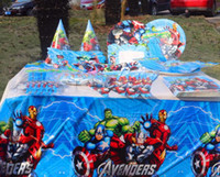Wholesale new The Avengers super Heros Captain America tablecloth hat cup knife plate napkin flag for kid birthday wedding Festerval party decor
