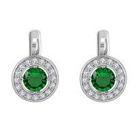 ball screw design - Classic Design Shin AAA Cubic Zirconia Ball Earrings Women s Real Gold Plated Clip Earrings with Green Rhinestone