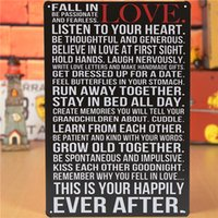 Wholesale Retro Proverb Metal Sign Fall In Love Tin Plaque Pub Bar Home Wall Decor Poster