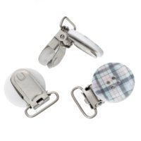 Wholesale New Hot Baby Pacifier Clips Grey Pacifier Wood Plaid Button Metal Holders x2 cm holder base