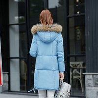 Wholesale Slim Jacket Winter Long Coat Ladies Down Parkas Big Fur Collar Women Otwear Outdoor Overcoat Hood Thick Warm Windbreak Oversize