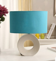 Wholesale Blue Mediterranean European bedroom bedside lamp orange ceramic shrinkage dot modern minimalist home decoration ideas