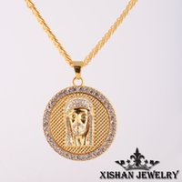 bead chains hip hop - high quality k gold plated jesus piece micro pave hip hop jewelry necklace bead gold chain mens necklace pendant