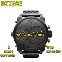 band dig - New DZ7266 Stainless Steel band Quartz Ana Dig SBA Oversized Black Dial Watches Sports Watch original box