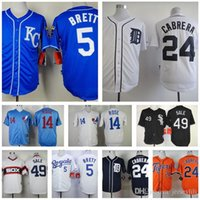 Wholesale 14 Pete Rose Throwback George Brett Miguel Cabrera Chris Sale jersey home away jerseys size small S xl