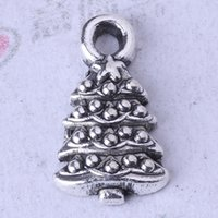 antique christmas tree - DIY Antique Silver bronze Christmas tree Leaves Pendant Fit Bracelets or Necklace Charms Jewelry z