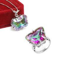 big butterfly rings - Ultra Big Natural Rainbow Butterfly Mystic Topaz Ring Pendant Necklace Jewelry Set Sterling Silver Bridal Fine Jewelry Set