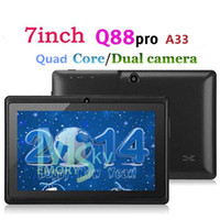 A33 Q88 Allwinner A23 quad core 7inch PC Android Tablet 4.4 capacitifs KitKat 512MB 4GB WIFI double caméra 1.5GHz Tablet PC
