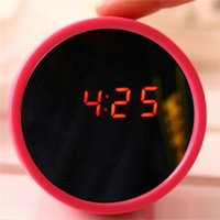 Wholesale Creative Beauty Mirror Alarm Clock LED Display Electronic Mute Makeup Mirror Despertador F314