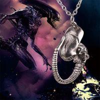 avp gold - AVP Alien vs Predator necklace Alien Queen pendant vintage antique silver Lavae Prometheus for men and women