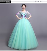 belle ice - 100 real ice blue purple flower embroidery half sleeve ball gown Medieval Renaissance Gown queen Victorian dress Belle ball