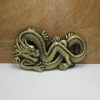 antique brass buckles - BuckleHome fashion dragon belt buckle animal belt buckle with antique brass plating FP