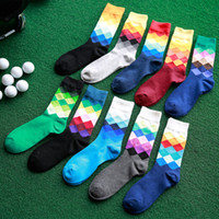 Wholesale Casual Mens Cotton Colorful Happy Socks Harajuku Gradient Color Business Dress Socks Diamond Plaid Long Socks calcetines