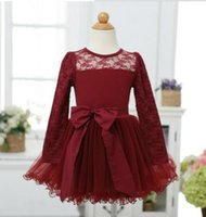 Wholesale Girl Christmas Dress New Girls Fashion Lace Bow Cotton Lining Long Sleeve Party Dresses Kids Clothes Girl Autumn Dress