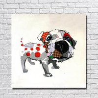 abstract paintng - Hand made canvas paintng decorative abstract dog oil paintng cartoon kids room decor wall pictures for bedroom