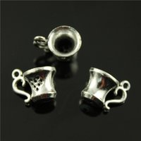 antique tea tin - 60pcs mm antique silver antique bronze plated d tea cup charms