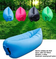 Wholesale 8 Colors Fast Inflatable Sleeping Bag Seconds Quick Open Lazy Sleeping Bed Folding Sofa Beach Sleep Bed Outdoor Camping Air Sleep Sofa p