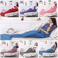 Wholesale 95 cm Adult Fashion Knitted Mermaid Tail Blanket Super Soft Warmer Blanket Sleeping Costume Air condition Knit Blanket with Fish scales