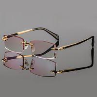 Wholesale Phantom trimming titanium eyewear male models diamond trimming Gold rimless finished prescription Frame glasses for Men