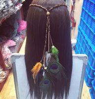 Wholesale 2016 fashion peacock feather suede headband india style bohemian handmade feather headband hair accessories