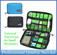 Wholesale Universal Travel Case for Small Electronics and Accessories Storge Hand Bag for Power Bank and Cell phone Black Blue Bag0011 DHL free