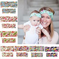 beautiful hairbows - Parent child Multi Color Baby Rabbit Ears Elastic Bowknot Beautiful Hair Accessories bowknot headband baby headbands infant hairbows flower