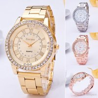 Wholesale Fashion Crystal Girl Silver gold rose gold Stainless Steel Quartz Wrist Watch