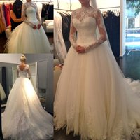 Wholesale Sexy New Sheer Lace Long Sleeves Backless A Line Wedding Dresses High Neck Tulle Applique Beaded Court Train Bridal Gowns