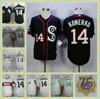 Wholesale 14 Paul Konerko Anniversary Alternate Home Chicago White Sox Cool Base Baseball Jerseys White Grey Black