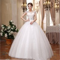Wholesale 2016 Summer Ball Gown Lace up Floor Length Embroidery Crystal Elegant Noble White Polyester Chapel Slim Princess Wedding Dresses B