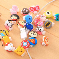 Wholesale Kawaii Minions Silicone Cable Saver USB Charger Cable Earphone Wire Cord Protector For iPhone Plus iPad iPod Samsung Phone Accessories