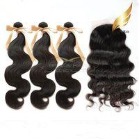 Brazilian Hair Body Wave Body Wave Silk Base Closure With Hair Bundles 7A Brazilian Virgin Human Hair Weave Silk Base Closure Full Head Natural Color Body Wave Free Shipping