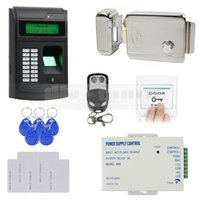 Wholesale DIY Access Control System KHz RFID LCD Biometric Fingerprint Password Keypad ID Card Reader Kit Electric Lock I S