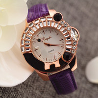 animal ladies watch - Leather band animal deer crystal on case gold plate case quartz movement Gerryda fashion woman lady quartz crystal watches