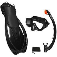 Wholesale Snorkeling Mask Fins DRY Snorkel Set Gear Bag Black