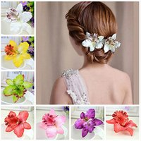 Wholesale Delicate Orchid Peony Flowers Hair Clips Women Girls Beach Hair Accessories Plastic Hair Clips