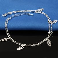 boot jewelry - Ms star anklets Beach anklet bracelets beach jewelry new Sterling silver Double layers anklets jewelry for Women Boot Foot Jewelry