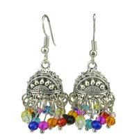 bead sunshine - 1Pair Vintage Silver Filigree Hollow Sunshine Colorful Bicone Bead Hook Earrings