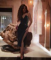 Wholesale Little Black Dresses Myriam Fare Short Evening Dresses Side Split Celebrity Dresses Arabic dresses Sheath Prom Dresses Gowns